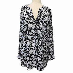 Ava & Viv black and white floral blouse